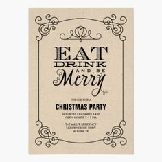 Vintage Typography Christmas Party Invitation Card - Eat Drink and be Merry