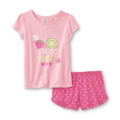 Joe Boxer Toddler Girl's Pajama Top & Shorts - I'm So Sweet