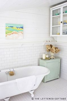Flooring/Walls/Shelf... exactly what I had in mind! via the lettered cottage.