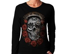 Wellcoda-Day-Of-The-Dead-Skull-Womens-NEW-Long-Sleeve-T-Shirt-Black-S-2XL-0