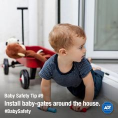 It's easy to get distracted and leave a door open. Remember that a crawling baby could easily get outside if doors aren't properly locked. Home Safety, Baby Safety, Safety Tips, Best Motto, Crawling Baby, Baby Gates, T Baby, Injury Prevention, New Parents