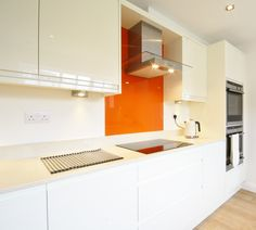 Orange Lime Green Kitchen Glass Splashback By Creoglass Design
