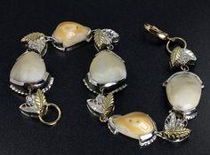 Custom Jewelry - Sterling silver and gold Elk Ivory Bracelet Antler Jewelry, Pearl Jewelry, Sterling Silver Jewelry, Jewelry Bracelets, Pearl Earrings, Elk Ivory, Elks, Deer Decor, Custom Jewelry