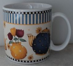 Debbie Mumm Sakura Teapots Teapot Flowers Honey Yellow Blue Coffee Cup Mug ~ This Item is for sale at LB General Store http://stores.ebay.com/LB-General-Store ~Free Domestic Shipping ~