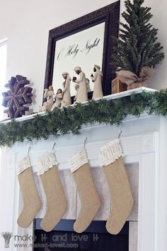 burlap christmas stockings- love it paired with the nativity above. I could totally do that! What a great pairing