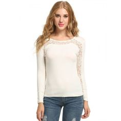 New Women Casual Long Sleeve O-Neck Lace Patchwork Hollow Out Top T-Shirt