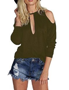 Allegrace Women Sexy Slit Open Front Cold Shoulder T Shirts Fashion Tee Tops  Army Green XL 905acadfe