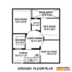 House Plan for 30 Feet by 30 Feet plot (Plot Size 100 Square Yards ...