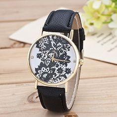 Retro Spitzen Uhr Lederausstattung Leichtmetall Damen Analoge Quarz Armbanduhr Schwarz - http://uhr.haus/sanwood/schwarz-retro-weltkarte-uhr-lederausstattung-2