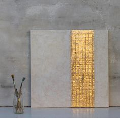 Gold leaf Abstract painting gift office decor von AtelierMaltopf