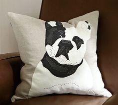 Bull Dog Applique Pillow Cover #potterybarn