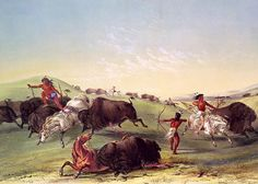George Catlin - Buffalo Hunt   Catlin was an American painter, author and traveler who specialized in portraits of Native Americans in the Old West.