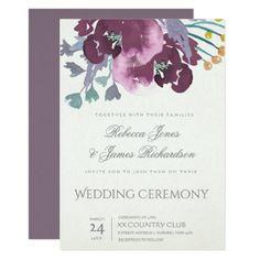 DEEP PURPLE AQUA WATERCOLOUR FLORAL WEDDING CARD - bridal shower gifts ideas wedding bride