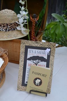Safari Invitation and passport (plus cupcake decorations in another photo)
