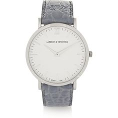 Larsson & Jennings Croc-effect leather and silver-plated watch (€330) ❤ liked on Polyvore featuring women's fashion, jewelry, watches, accessories, acessorios, montres, grey, bezel watches, crocodile jewelry and grey jewelry