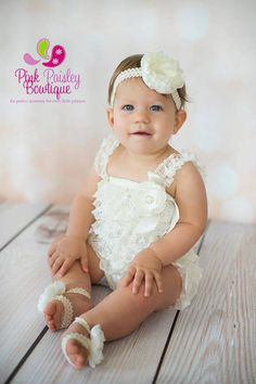42e07658dcf5 Baptism Outfit - 4pc SET- Ivory Petti Romper- Baby Girl Rompers -  Christening Dress- Lace Romper - Cream Baptism Dress - Lace Baby Romper