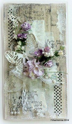 shabby chic card, just love the colours Cajas Shabby Chic, Shabby Chic Cards, Vintage Shabby Chic, Butterfly Cards, Flower Cards, Mixed Media Cards, Handmade Tags, Pretty Cards, Card Tags