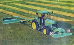 Original oil painting by Barrie Cann #oil #painting #tractor #farm #art #Barrie #Cann #barriecann