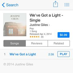 Have you checked out my first single get?! It's on iTunes worldwide!! Ps. Video for this song coming soon!! And then my album will be released!! And then! And then! I can't even tell you half of what's in store #wevegotalight #justinegilesmusic #itunes