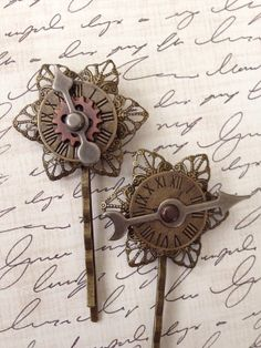 Steampunk hair Accessories  set of 2 metal clock by jayedesigns, $15.00