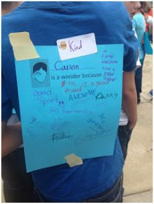 Celebrating Wonder - great ideas here. Especially love this one - What makes you a wonder? Students fill in words and phrases about themselves, and then their classmates add to the lists anonymously. Fantastic