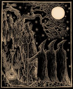 """""""Three hooded witches bearing the stang make their way to the cavern of initiation; a hare leaps in the beams of the full moon."""" by Nigel'Aldcroft' Jackson, from the book Call of the Horned Piper."""