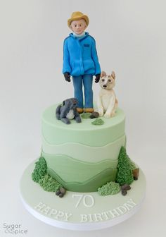 Man and dogs cake Akita cake topper staffordshire bull terrier cake topper man cake topper outdoor theme by Sugar & Spice Gourmandise Gifts  https://www.facebook.com/SugarandSpiceGourmandise