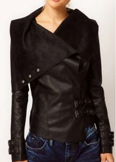 Laconic Turndown Collar Long Sleeve Solid Black Jacket #owned