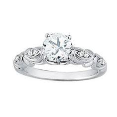 1 ct Forever Brilliant Moissanite  Solid 14k white gold Antique Sculptural  Style diamond Engagement Ring- Ov61887 by GNGJewel on Etsy https://www.etsy.com/listing/212952029/1-ct-forever-brilliant-moissanite-solid