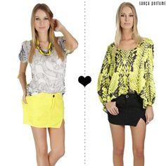 Vai de amarelo ou preto? ❤ por saia denim! #lancaperfume #altoverão15 #jeans  Shop now: lpeshop.com.br/172323