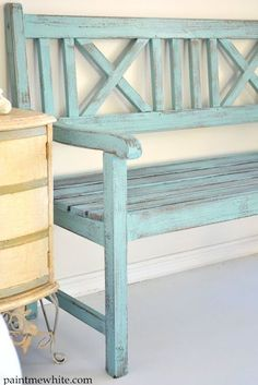 10 Ways to Decorate with Benches – Somewhat Simple Bench Seat. Shabby-schik, remodel an old one or make a new one look old. Very inviting on the front porch & quite easy to do on a long weekend ; Furniture, Front Porch Bench, Redo Furniture, Home, Wooden Bench, Bench, Shabby Chic Furniture, Porch Bench, Painted Benches