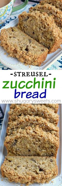 This Crunchy Streusel Zucchini Bread is chock full of walnuts and zucchini and topped with a sweet brown sugar and cinnamon crumble. (Bread was not sweet, you get sweetness from streusel. Mini Desserts, Just Desserts, Delicious Desserts, Dessert Recipes, Yummy Food, Oreo Dessert, Dessert Bread, Zucchini Bread Recipes, Quick Bread Recipes