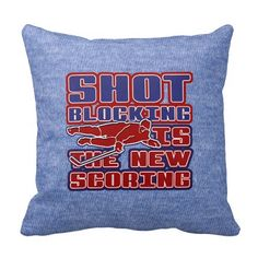 Shot Blocking Hockey Name and Number Pillow. Hockey throw pillow with easy to customize name and number print on one side. Available with cotton or polyester covers. Priced from $33.95. To see this design on the full range of products, please visit my store: www.zazzle.com/gamefacegear*/ #IceHockey