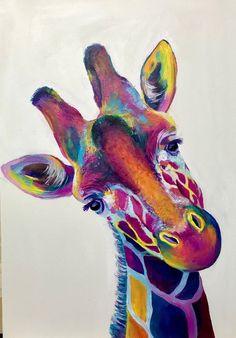 Giraffe Drawing, Giraffe Painting, Giraffe Art, Colorful Animal Paintings, Colorful Animals, Abstract Animal Art, Pop Art, Giraffe Pictures, Arte Pop