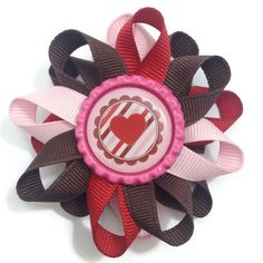 """New to CupcakesClipShop on Etsy: Valentine's Day Hearts 3"""" Hair Bow - 3 inch Brown Light Pink Red Hair Bow - Hair Bow Barrette - French Clip - Made To Order (5.00 USD)"""