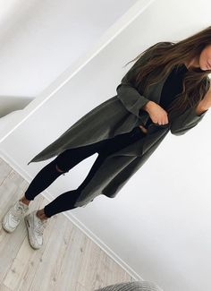Green Coat // Black Top // Black Ripped Skinny Jeans // White Sneakers