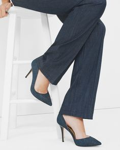Go into the deep blue with these chambray printed suede heels. Though we designed this d'Orsay with denim-on-denim outfits in mind. | White House Black Market