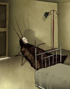 """This is almost exactly how I imagined Gregor Samsa in Kafka's """"The Metamorphosis"""" (drawing by Julian De Narvez) Book Cover Design, Book Design, Bug Art, A Bug's Life, Scary Monsters, Insect Art, Scary Stories, Whimsical Art, Dark Art"""