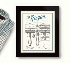 Bathroom Decor, Laundry Room Art, For Men's Bathroom, Shaving Art Sign Wall Print Vintage Patent Art