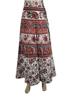 Womens Wrap Around Skirt, Red Sarong Elephant Printed Long Wrap Skirt, Beach Wear, Mogul Interior,http://www.amazon.com/dp/B00CBQG3XE/ref=cm_sw_r_pi_dp_WolArb32EB39418E