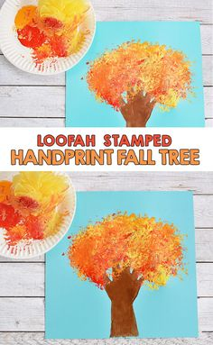 Loofah Stamped Handprint Fall Tree Craft For Kids