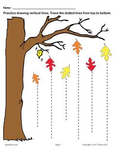 These two free fall themed line tracing worksheets are great for both preschoolers and kindergartners. The first one includes straight lines for beginning tracers, and the second tracing worksheet includes zig zag and wavy lines. Fall Preschool Activities, Preschool Writing, Preschool Printables, Preschool Worksheets, Preschool Learning, Preschool Crafts, Teaching, Line Tracing Worksheets, Handwriting Worksheets