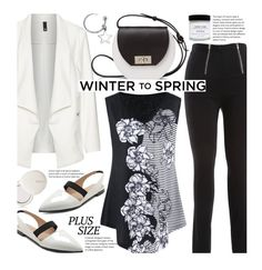 Black and White Work Wear (plus size) by beebeely-look on Polyvore featuring Manon Baptiste, Joanna Maxham, Bling Jewelry, lilah b., Honey Corn, WorkWear, blackandwhite, sammydress, plussize and officestyle