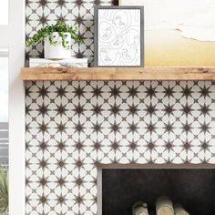 Encausto x Porcelain Field Tile Color: White/Black Tile Around Fireplace, Fireplace Surrounds, Fireplace Design, Fireplace Ideas, Tiled Fireplace Wall, Fireplace Redo, Farmhouse Fireplace, Fireplace Remodel, Fireplace Mantels