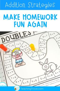 Make homework fun for your first grade or second grade students by sending home math strategy games. These math games are perfect for mental math practice. Such an easy way for students to learn math strategies for addition and subtraction and have fun doing it! Also great for math centers, partner work, morning work or extra activities for early finishers. #homeworkideas #additiongames