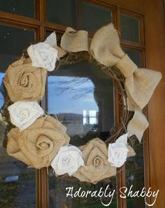 Grapevine Wreath with  and Burlap Bow.