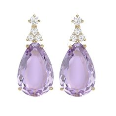 An extremely pretty pair of mini amethyst smooth cut stones set in 18ct yellow gold with dazzling diamonds. Stunning earrings to freshen up your jewellery collection.