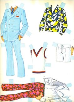 Ken doll paper doll fashions, 1970s.