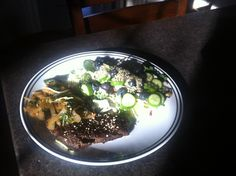 Horse meat steak! Low fat high protein  With a nice light salad :)