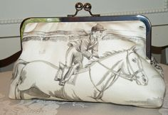 Equestrian Clutch/Purse/Bag..Horse and Rider by Paulownias on Etsy, $85.00
